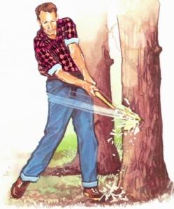 斧で木を切るイメージ